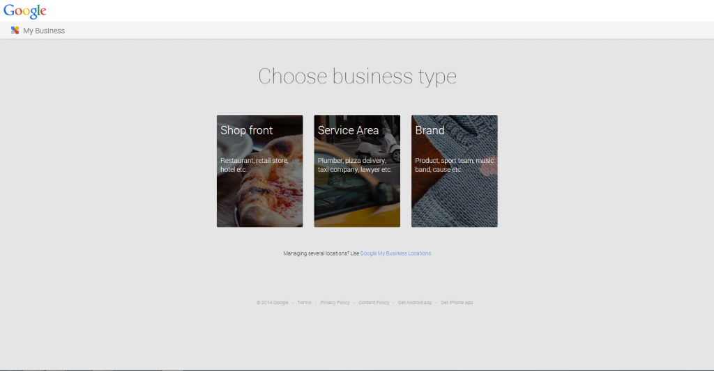 Google Plus business page setup - choose business type
