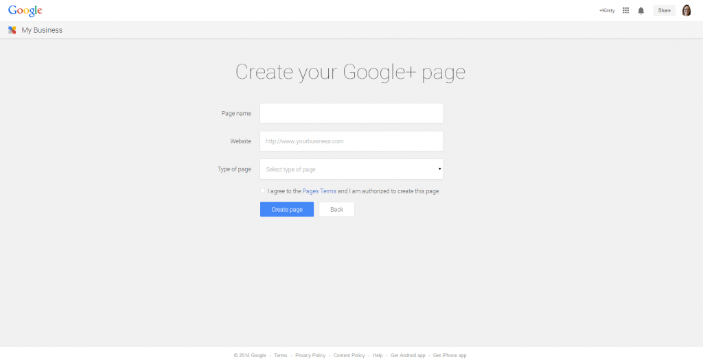 Google Plus - creating a new company page