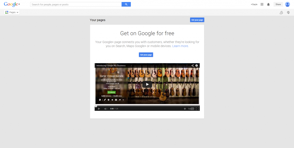 Google Plus - get a business page