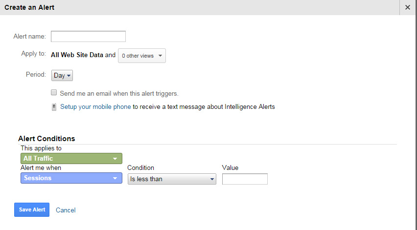 Create an alert in Google Analytics