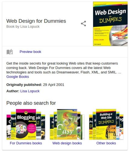 Book rich snippet in Google's search results