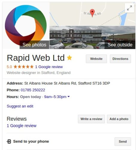 Local Business rich snippet in Google's search results
