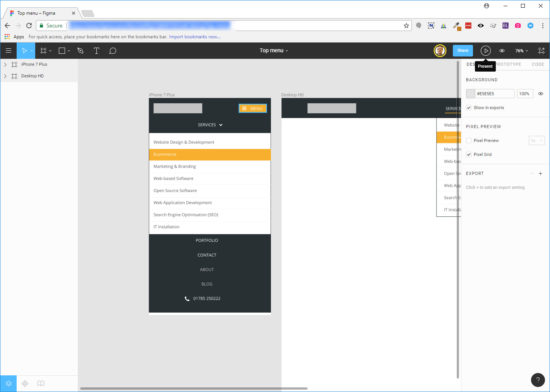 Screenshot showing Figma UI in browser